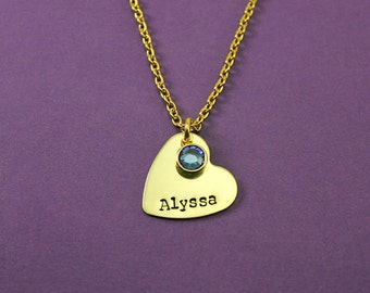 Personalized Gold Heart Necklace - Gold Toned Heart Name Birthstone Necklace - Little Girl Gift - Tween girl - Teen girl - Flower Girl gift