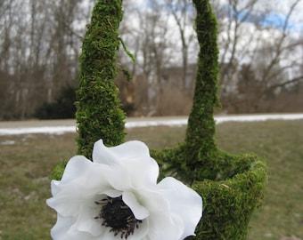 Moss Flower Girl Basket, CHOOSE YOUR DECORATIONS! Wedding, Bridesmaid, Green, Wand