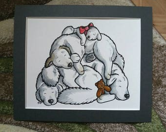 GREAT PYRENEES dog - ink cartoon of sleepy Pyrenean Mountain dogs, perfect gifts by Yorkshire animal artist Jess Chappell