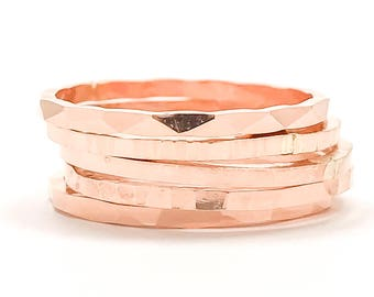 Stacking Rings Hammered- Set of 5, Rose Gold Filled Rings