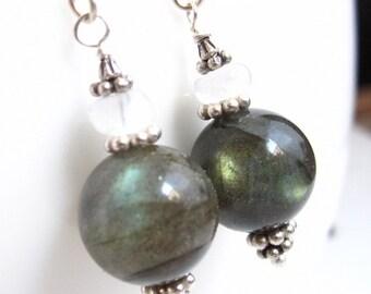 Labradorite Orb Earrings