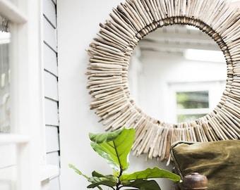 "Driftwood Mirror 36"" Sunburst, Double Layer, Reclaimed, Beach Home Decor, Mantle, Entryway, Living Room, Coastal"