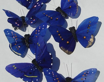 Butterfly Hair Clip SOLD INDIVIDUALLY cobalt blue feather butterfly handmade hair clips Butterfly Accessories by Ziporgiabella
