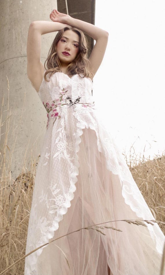 Ethereal Wedding Gown/Lace Tulle Wedding Gown/One of a Kind
