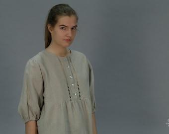 Linen Blouse  With Drawnwork on Front/ Linen Shirt with Handwork/ Linen Luxury/ Top 3/4 Sleeves/ Linen Blouse Maternity/ Linen Tunic Elegant