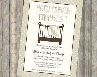 crib baby shower invite, Here Comes Trouble, gender neutral, Crib with blanket, digital, printable file
