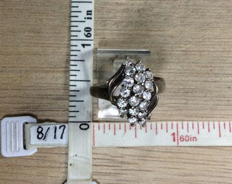 Vintage 925 Sterling Silver 3.7g Ring Size 7.5 Czs Used