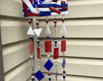 Fused Glass Wind Chime American Abstact
