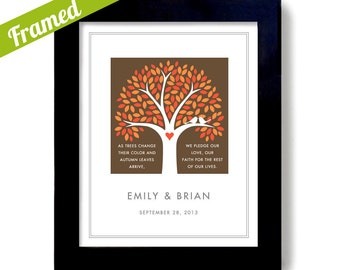Fall Wedding Tree Art Print Personalized Wedding Gift Autumn Gift Wedding Gift for Couple Framed Gift White Doves Colorful Leaves