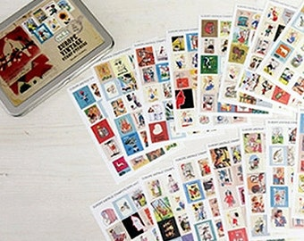 Vintage Stamp Stickers in Tin Case / Europe Vol. 2 - 16 sheets (5.9 x 4.3in)