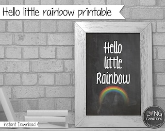 Rainbow print - hello little rainbow - rainbow printable - Typography Print - Minimal Print - Quote wall art - nursery room - chalkboard art