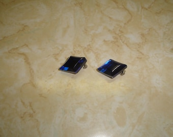 vintage clip on earrings blue beveled lucite