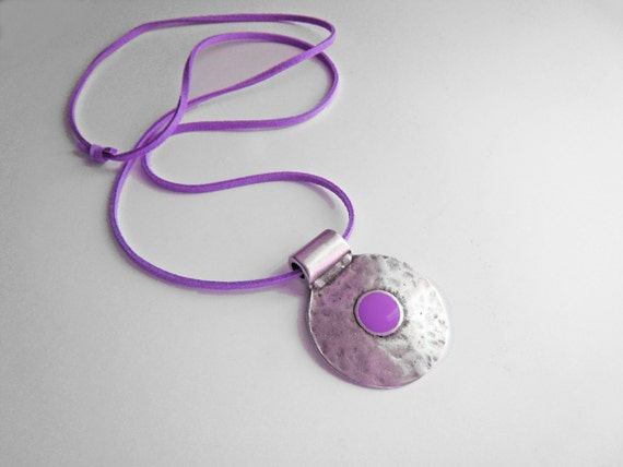 Bohemian necklace, purple necklace, lilac amethyst resin pendant, boho tribal pendant, hammered silver round pendant, ancient greek amulet