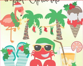 Tropical Christmas Clipart -Personal and Limited Commercial Use- Flamingo, Palm Trees, and Crab clip art