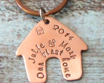 Our First Home Personalized Copper Hand Stamped Keychain - Housewarming Gift