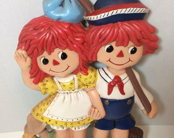 Vintage Raggedy Ann and Andy Ceramic Wall Hanging