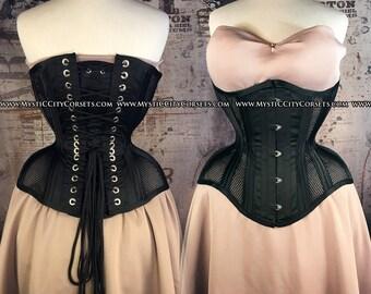 New MCC-50 Black satin/sport mesh Underbust tightlacing waist training corset MystiC City Corsets