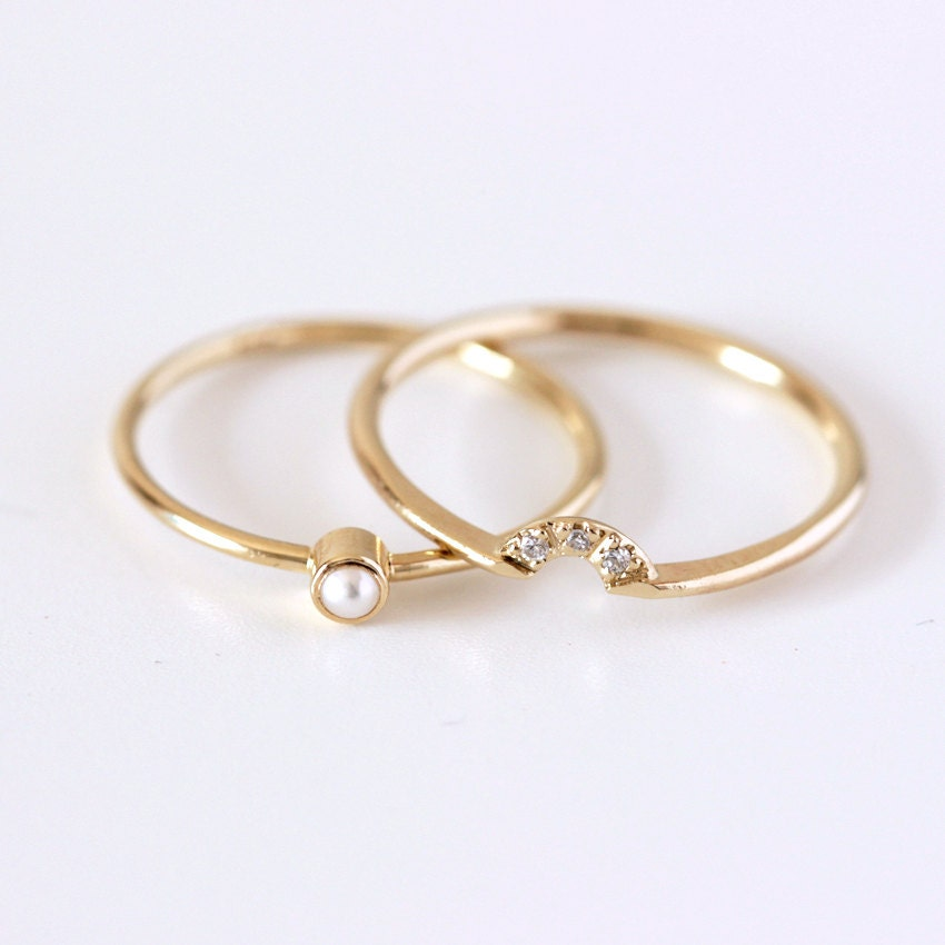 Wedding Ring Set Pearl Wedding Ring Seed Pearl Ring Dainty