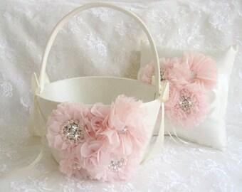 """Blush Flower Girl Basket 10"""" tall 7"""" across LARGE and Ring Bearer Pillow Blush Cream or White  Huge Very Large Flower Girl Basket  Wedding"""