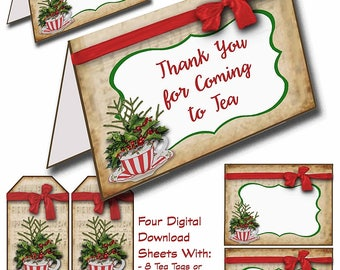 Christmas Teacup party pack, Instant Digital Downloads, Holiday Tea Party, Holly Teacup, Discount Package, Christmas Tags, Gift Cards, red