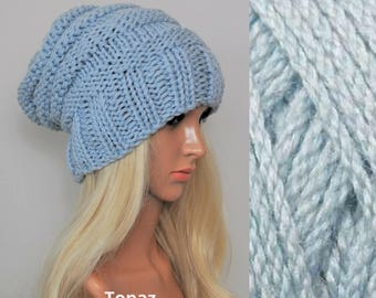 Blue slouchy hat, Knit hat, womens hats, slouchy beanie, Womens gift, winter hat,  Gift for her. Bamboo and Merino wool.Choose your colour.