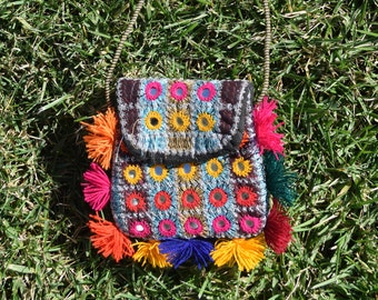 Handmade Sindhi Colorful Purse With Mirrors & Pom Poms