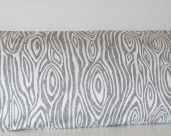 Pillow Cover - Grey - White - Wood Grain - 20x54 - Decorative - Body Pillow Case