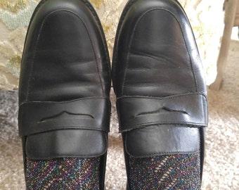 Vintage Black Leather Loafers Brogues Oxfords 8.5 Slip On
