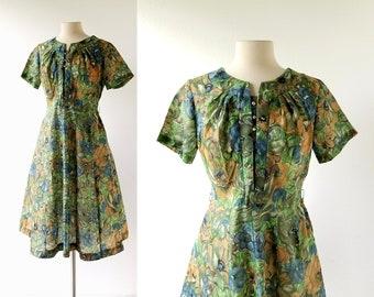 Floral 50s Dress | Rhinestone Dress | 1950s Dress | Medium M