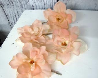 Peach delphinium hair pins, Light pink wedding hair accessories, Bridesmaid hair pins, flower girl hair pin, Prom hair accessories