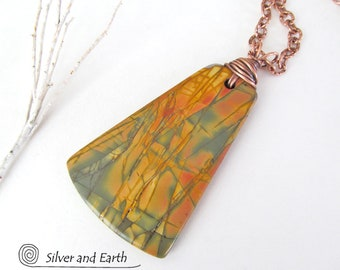 Red Creek Jasper Pendant, Large Stone Necklace, Copper Wrapped Jewelry, Big Stone Pendant, One of a Kind, Earthy Natural Stone Jewelry