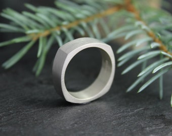Square Sterling Silver Band, 6mm Square Wedding Band, Brushed Silver Band, Simple Square Ring, Ready to Ship