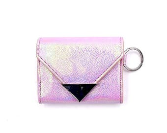 Wallet- Keychain- Pink Holographic- Card Holder- Mermaid- Designer- Gifts- Card Case- Coin Purse- Envelope- Card Wallet- Vegan Leather- Holo