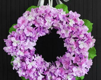 "Purple Hydrangea Spring Summer Front Door Wreath - 22"" Diameter"