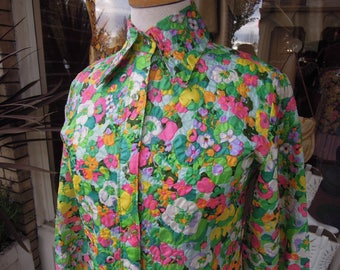 70's Bright Floral Quilted Texture Evan-Picone Blouse ~Clear Lucite Ball Buttons ~ Nordstroms 60's 70's