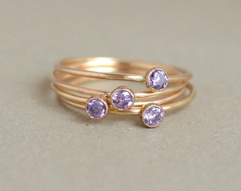 amethyst ring. gold birthstone ring. ONE dainty stackable February birthstone ring. mothers ring. 14k gold filled purple amethyst gemstone.
