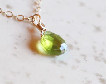 August Birthstone, Peridot Necklace, Peridot Necklace Gold, Dainty Necklace, Gifts For Her