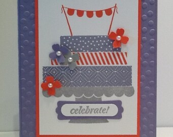 Happy Birthday Card - Birthday Cake Card -  Stampin Up Handmade Birthday Card - Hand Stamped Bday Card
