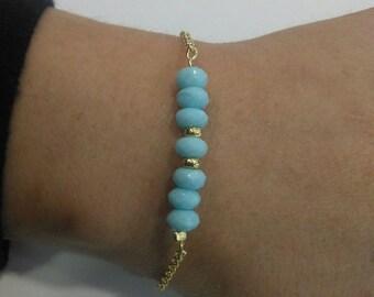 Beads bracelet, Silver bracelet with Chalcedony.