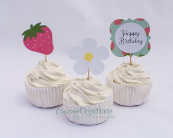 12 ct Strawberry/Flower/Happy Birthday Cupcake Toppers/ Food Picks