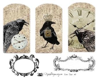 Vintage Crows Clocks Printable Instant Digital Download