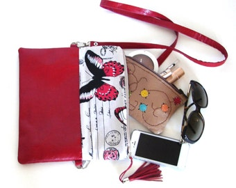 RED BUTTERFLY (Leather bag, Handmade, Hand stitched, leather fold over clutch)