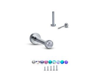 "Titanium Labret Style Nose Ring Monroe Stud Threadless Push Pin 1.5mm Gem  1/4"" 5/16"" 3/8"" 20G 18G 16G"