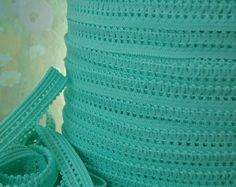 """5yds Elastic band Picot Skinny Turquoise Green Rick Rack 3/8"""" Sewing Trim Single sided Edging Headband Lingerie Elastic by the yard"""