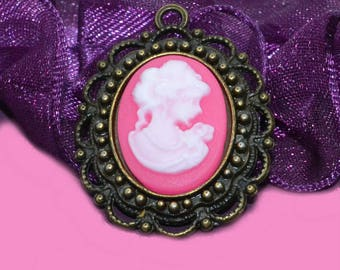 Set of 2 feminine cameos, 18x13mm pink
