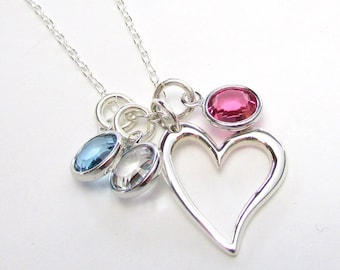 Mothers Necklace   Sterling Silver Heart Necklace   Silver Heart Birthstone Necklace   New Mom Gift   Grandmother Jewelry   Eriadesigns