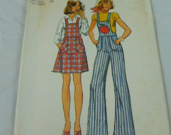 6568 Simplicity Contains 2 Sizes 13/14 & 15/16 Bust 33 1/2 35 Yng Jr Teen Pattern Short Jumper Overalls 1974 Vintage Pattern Uncut