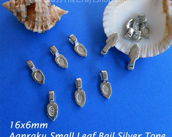 200 Pendant Bails - Aanraku Leaf Bails 16x6mm Small Silver Tone Glue on Bails (SAANRAKU)