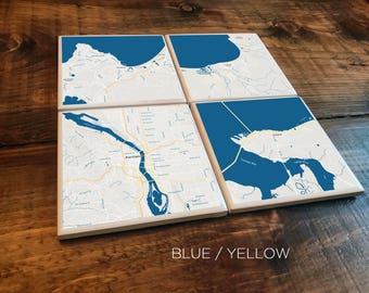 Custom Map Coasters - Pick Your Locations - (9 Style Options)