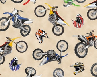 In Motion Cream Dirt Bikes from Elizabeth's Studio Cotton Quilt  Fabric 458 Cream - By the Yard - Free Shipping U.S.